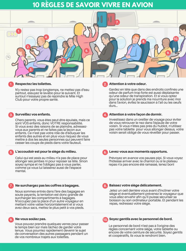 10 commandements du savoir vivre en avion