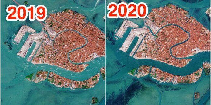 Canaux de Venise en 2019, à gauche et 2020, à droite Agence spatiale européenne